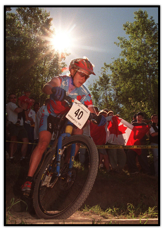 Alison Sydor on her mountain bike