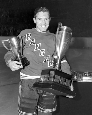 Buddy O'Connor with trophies.