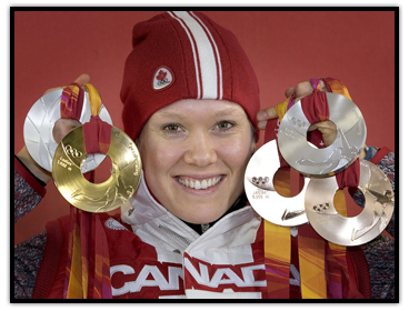 Cindy Klassen showing her five Olympic medals