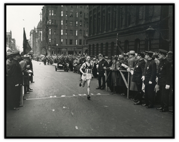David Komonen winning the Boston Marathon