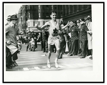 Gérard Côté crossing the finish line